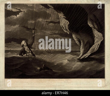 The perilous situation of Major Mony i.e. Money, when he fell into the sea with his balloon on the 23rd of July, - Stock Photo