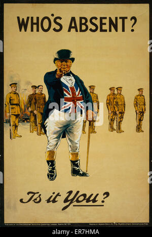 Who's absent? Is it you?. Poster showing John Bull pointing and addressing the viewer, with burning buildings and - Stock Photo