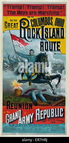 The Great Rock Island route to the reunion of the Grand Army of the Republic Date c1888. - Stock Photo
