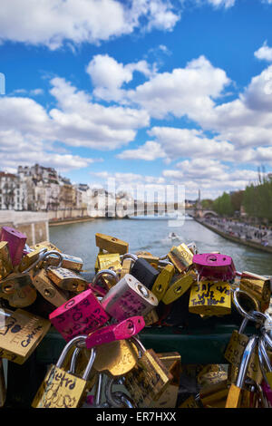 Looking from the Love lock bridge along the river seine Paris, France, - Stock Photo