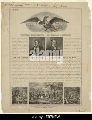 National Democratic Republican nomination. A campaign broadside for Democratic candidates Martin Van Buren and Richard - Stock Photo