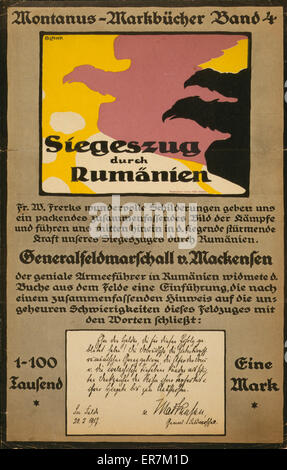 Siegeszug durch Rumanien. Poster shows silhouettes of three flying eagles and is an advertisement for book about - Stock Photo