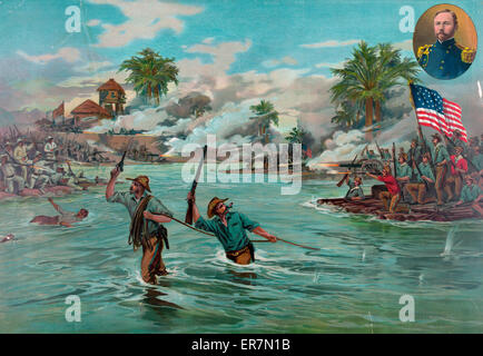 Col. Funston and 20th Kansas volunteers crossing the river at Calumpit, April 26th 1889. - Stock Photo