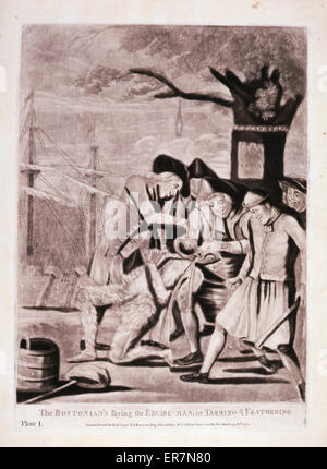 The Bostonian's paying the excise-man, or tarring & feathering. Print shows five men forcing a tarred and feathered - Stock Photo