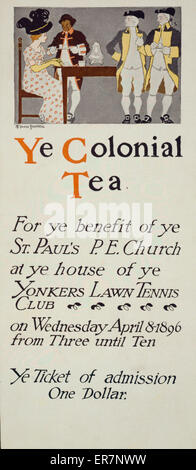 Ye colonial tea. Ticket of admission for the benefit of St. Paul's P. E. Church. Shows a woman being served tea - Stock Photo