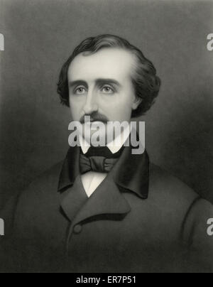 Edgar Allan Poe, head-and-shoulders portrait, facing front. Date c1896. - Stock Photo