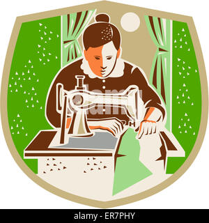 Illustration of a female seamstress dressmaker with sewing machine sewing set inside shield crest with curtain and - Stock Photo