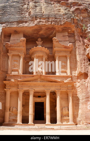 The treasury of the Nabataean ancient city of Petra, Khazna in Arabic. Petra is one of the seven wonders of the - Stock Photo
