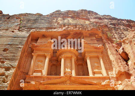 Close up of the upper part of the treasury of the Nabataean ancient city of Petra, Khazna in Arabic. Petra is one - Stock Photo