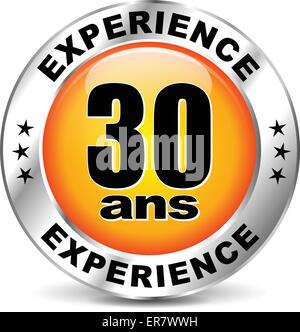 French translation for thirty years experience orange icon - Stock Photo