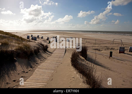 foot path to the main beach, East Frisian Island Spiekeroog, Lower Saxony, Germany - Stock Photo