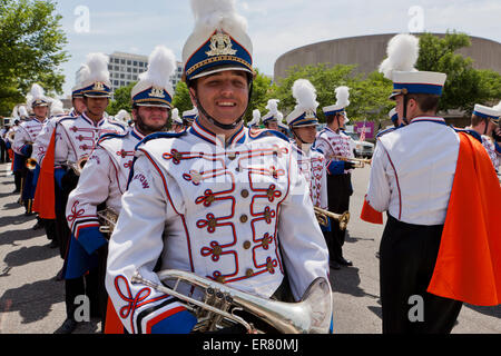 High school marching band member in uniform - USA - Stock Photo