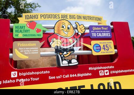 Idaho potato promotion truck sign - USA - Stock Photo