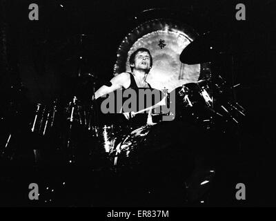 Carl Palmer of the classic rock band Emerson Lake and Palmer in live performance, 1977. - Stock Photo