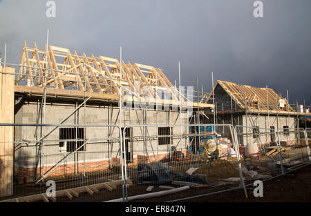 New houses under construction in the village of Bawdsey, Suffolk, England, UK - Stock Photo