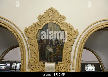 Moscow. 27th May, 2015. The photo taken on May 27, 2015 shows the mosaic picture of Kiyevskaya subway station in - Stock Photo