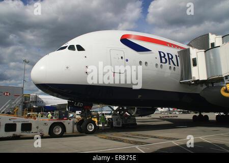 BRITISH AIRWAYS A380 ON GATE - Stock Photo
