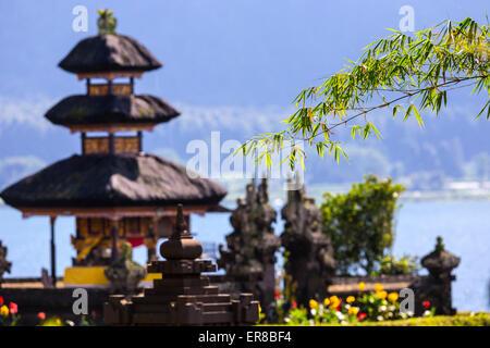 Pura Ulun Danu temple on a lake Bratan, Bali, Indonesia. - Stock Photo