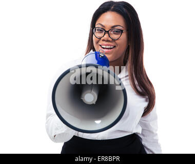 Afro american businesswoman shouting in megaphone isolated on a white background. Looking at camera - Stock Photo