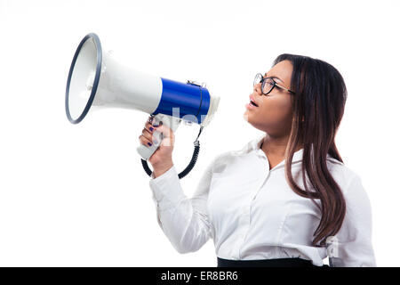 African businesswoman shouting in megaphone isolated on a white background - Stock Photo