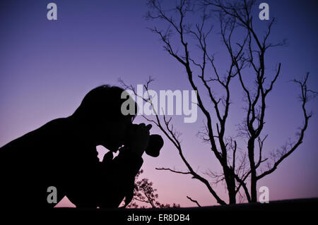 Silhouette of a man shooting tree branches during sunset - Stock Photo