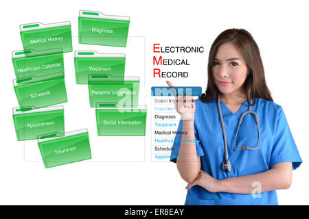 Electronic medical record system and female doctor in blue uniform on white background. - Stock Photo