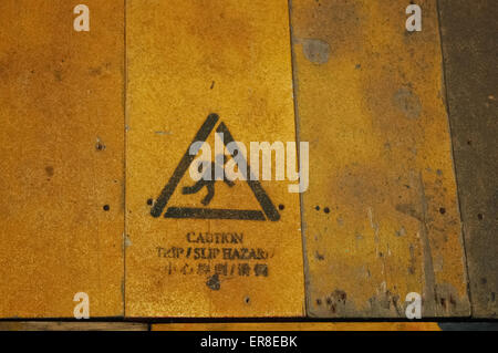 Caution Slippery when  wet warning sign in Chinese language - Stock Photo