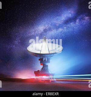 A radio telescope pointing upwards into the night sky. Astronomy background. Illustration.