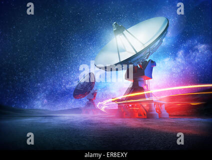 Astronomy deep space radio telescope arrays at night pointing into space. The milky way sets the background. Illustration.