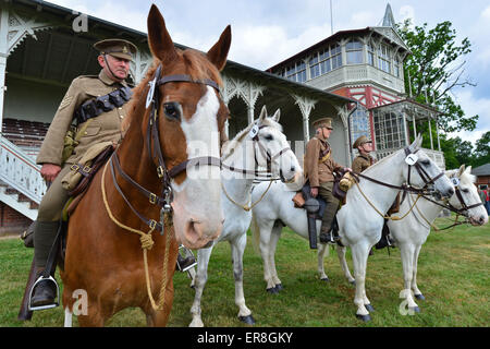 Gotha, Germany. 29th May, 2015. A Sussex Yeomanry troop from Great Britain sets out for a patrol ride on the historical - Stock Photo