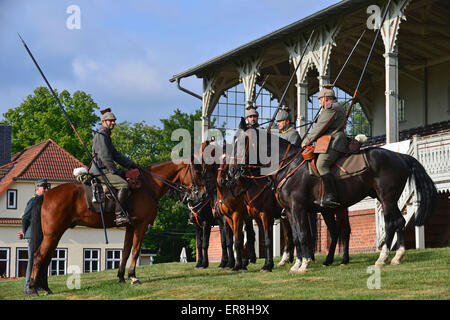 Gotha, Germany. 29th May, 2015. A troop of Bavarian Uhlans from Germany set out for a patrol ride on the historical - Stock Photo