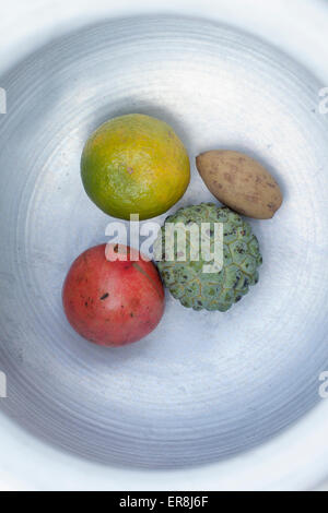 Directly above shot of fruits in plate on white background - Stock Photo