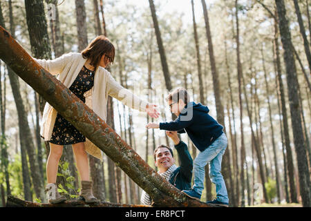 Happy parents assisting son in climbing tree at forest - Stock Photo