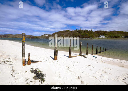 The 'Silver Sands of Morar' is the Scottish Highlands is on the North West Coast between Fort William and Mallaig - Stock Photo
