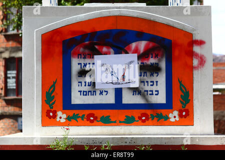 A monument with the Ten Commandments defaced in protest against the Israeli military offensive in Gaza, La Paz, - Stock Photo