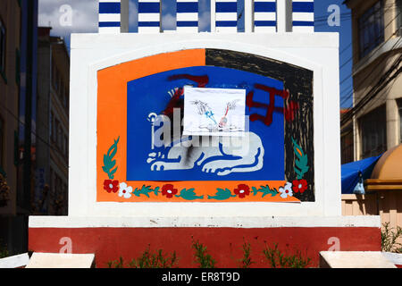 A monument with Jewish symbols defaced in protest against the Israeli military offensive in Gaza, La Paz, Bolivia - Stock Photo