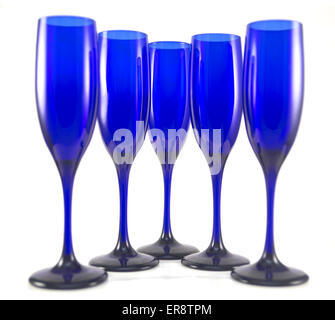 Set of 5 Blue Champagne Flutes on White - Stock Photo