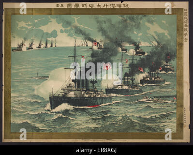 True report of the great sea battle at Lushun Bay: number one. Print shows Japanese battleships bombarding Russian - Stock Photo