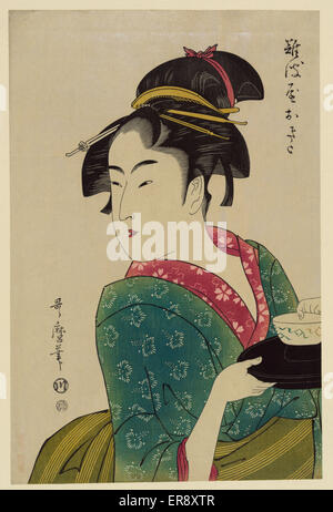 Okita of Naniwa-ya. Print shows Naniwaya Okita, a teahouse waitress, half-length portrait, turned to the left, carrying - Stock Photo