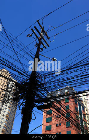 chaotic wires on electricity post Stock Photo, Royalty Free Image ...