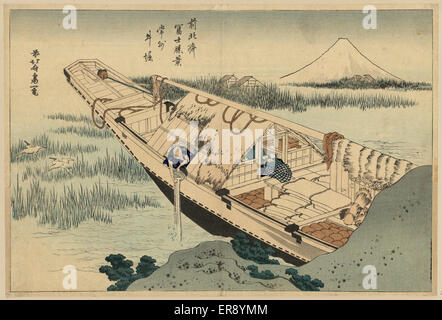 Shibori of Joshu. Print shows an elderly man emptying a bucket over the side of a houseboat, with view of Mount - Stock Photo