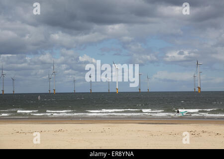 Teeside wind farm photographed from Redcar beach. 27 offshore turbines in the estuary of the River Tee in north - Stock Photo