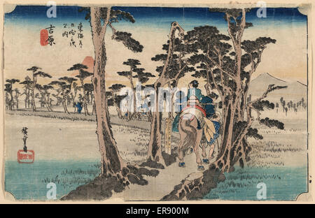 Yoshiwara. Print shows travelers from behind on horseback on a narrow strip of land lined with pine trees near the - Stock Photo