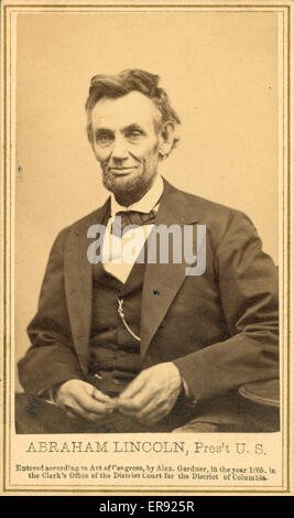 Abraham Lincoln, Pres't U.S. Photograph from the last formal portrait sitting, Feb. 5, 1865, in Washington, DC One - Stock Photo