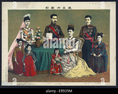 The Japanese imperial family. Print shows a group portrait of Meiji, Emperor of Japan and the imperial family. Date - Stock Photo