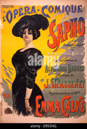 Sapho: Theatre de l'Opera-Comique . Performing arts poster for a performance of a comic opera by Henri Cain and - Stock Photo