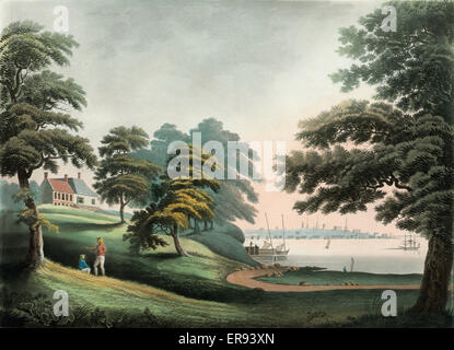 New York from Hobuck Ferry House New Jersey. Print showing landscape around the Hobuck Ferry House in New Jersey, - Stock Photo