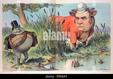 The frog who tried to be as big as a bull. Illustration showing William McKinley as a bull standing next to a small - Stock Photo
