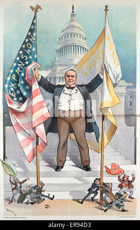 The pigmies attack; but the government still lives. Illustration shows President McKinley standing on the steps - Stock Photo