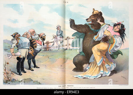 Too many friends. Illustration shows a woman representing China struggling with the Russian Bear, while the German - Stock Photo